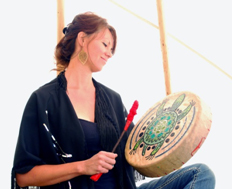 Leah with turtle drum